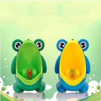 bebek egzersiz pisuarları toptan satış-Yeni Tasarım PP Kurbağa Çocuk Standı Dikey Pisuar Duvara Monte Lazımlık Oluk Çocuklar Bebek Erkek Pisuar Promosyon Duvara monte Eğitim Tuvalet