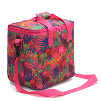 Wholesale thermal insulated cooler bags online - Oxford Thickening Flower Insulated Cooler Picnic Zipper Lunch Bag Single Shoulder Aluminum Film Portable Package Ice Pack jsC1