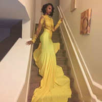 Wholesale plus size 26w prom dress for sale - 2019 Yellow African Lace Appliqued South African Prom Dresses High Neck Mermaid Long Sleeve Banquet Evening Gown Custom Made Plus Size