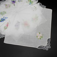 Wholesale vintage napkins for sale - Group buy Vintage Embroidered Floral Cotton Handkerchief Vintage Hanky Butterfly Lace Flower Square Handkerchief Cloth Napkins Oman Wedding Party Gift