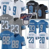 futbol forması nakışı toptan satış-9 Matthew Stafford Jersey Lion 88 T.J. Hockenson Detroit 20 Barry Sanders 33 Kerryon Johnson 23 Darius öldürün Jr Nakış Futbol Formalar