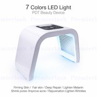 lâmpadas led para rosto venda por atacado-Photon LED Light Therapy Facial Máquina Máscara Facial Photodynamic Acne Removedor de Tratamento 7 Cores PDT Beleza Equipamentos Spa Instrumento
