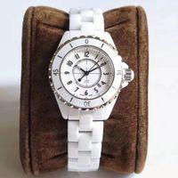 paar quarz armbanduhren großhandel-Paaruhr Luxusfrauenuhren 33mm 38mm schwarz weißes Zifferblatt Quarzbatterie Chronograph Herrenuhren Diamantuhr Damenuhren Armbanduhr
