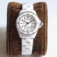pilas de reloj de cuarzo al por mayor-Reloj de pareja, relojes de lujo para mujer, 33 mm, 38 mm, esfera blanca negra, batería de cuarzo, cronógrafo para hombre, reloj de diamantes, reloj de señora, reloj de pulsera