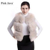ingrosso giacche in pelliccia rosa-ROSA JAVA QC9437 fascia alta moda naturale volpe gilet di pelliccia indumento SPEDIZIONE GRATUITA reale fox gilet corta gilet di alta qualità donne inverno