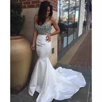 Wholesale z7 resale online - White Long Mermaid Prom Dresses Sweetheart Blue Decoration Sparkly Beads Sexy Evening Dresses Party Gowns Custom Size Z7