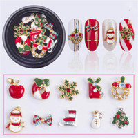 10 Designs box Alloy Metal Snowman Nail Rhinestones Christmas DIY 3D Nail Art Decorations Charms Accessories Tools