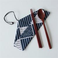 контейнер для палочек для еды оптовых-Японский стиль сумка для хранения столовых приборов треугольник столовые приборы организатор палочки для еды ложка вилка посуда контейнерные аксессуары полезный инструмент кухни