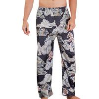 iç çamaşırı uzun pantolon toptan satış-100% pamuk uyku dipleri erkek pijama basit pijama pantolon Erkekler Simülasyon Ipek Pijama Lingerie Baskı Uzun Uyku Pantolon # P30
