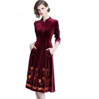 pist tasarımları toptan satış-Yeni geliş yüksek kalite lüks tasarım pist kadın payet nakış parti elbiseler kış kadife elbise vestido