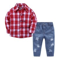 Wholesale toddler boys halloween shirts online - Baby Kids Clothes Boys Plaid T shirt with Jeans Piece Outfit Autumn Toddler Boys Clothing Set