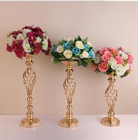 ingrosso fiori di piombo stradali-10pcs oro vasi di fiori portacandele partito candelabro candelabri stand decorazione di nozze strada piombo centro colonna cremagliera pilastro