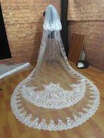 gerçek peçe resmi toptan satış-2 T Beyaz Fildişi Düğün Veils Katedrali Uzunluğu Gelin Dantel Aplike Tarak Ile Gerçek Resimler Gelin Peçe