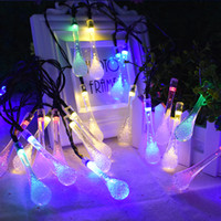 ingrosso fata illumina l'acqua-20 LED Water Drop Solar Powered String Lights LED Fairy Light per la festa di nozze Festival di Natale Decorazione interna per esterni