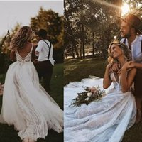 malha de vestidos de noiva sem encosto venda por atacado-2019 Novo Romântico Cheia de Rendas Vestidos de Casamento Bohemia Sheer Malha Top Applique Sem Encosto Sweep Train Wedding Party Vestidos de Noiva