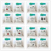 ingrosso emoticon di cuscino-Personalizza Super Soft Short Plush Throw Pillow Covers 40 Disegni Cartoon Emoticon Package Digital Printing Cushion Covers Pillows Federa