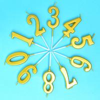 ingrosso candele di lusso-100 pezzi lusso oro 0-9 numero ambientale senza fumo digitale candela + telaio vassoio bambini bambino festa di compleanno rifornimento della torta decor