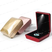Wholesale Fashion Gold White Red Rose Gold Ring Pendant Box Jewelry Display Box LED Rubber Painting Jewellery Box
