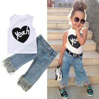 ingrosso jeans bambini maglia-Moda Toddler Baby Kids Girl Vest Top 2PCS T Shirt + Jeans Denim Pants Outfit Set Casual Pop Clothes 1-5Y