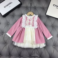 Wholesale gown decorations resale online - Girls dress kids designer clothing autumn lace neckline design dresses lining cotton material material back bow decoration dresses