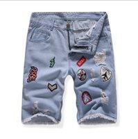 hot asians venda venda por atacado-Mens Denim Jeans Hot Sale Moda Lavado Bordado Crachá Em Linha Reta Jeans Tamanho Asiático Frete Grátis