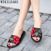 Wholesale red silk slippers resale online - flat slippers home shoes ladies slippers fashion Floral summer shoes Silk women slides Indoor