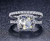 anillo de boda conjunto amortiguador al por mayor-Trs008 Lujo Calidad Nscd Sintético Gema 3 Carat Cushion Cut Anillo de Compromiso de Compromiso Para Las Mujeres, conjunto nupcial C19041704