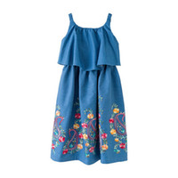08b528dd4a Kid Designer Clothes Ruffle Trimed Denim Off-The-Shoulder-Girl Dress With  Floral Embroidery Decoration Jumper Long Skirt Girls
