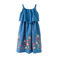 vestido sem mangas longo denim venda por atacado-Kid Designer Roupas Ruffle Denim Off-The-Shoulder-Girl Vestido Com Floral Bordado Decoração Jumper Saia Longa Meninas