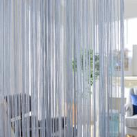 gelbe weiße vorhänge großhandel-300x260cm einfarbig Vorhänge Streifen weiß leer grau klassische Linie Vorhang Fenster Jalousie Volant Raumteiler Tür dekorativ