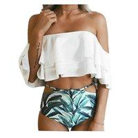 paquet de collants de couleur achat en gros de-Été double flanelle sexy dos nu couleur unie serré conservateur haute élastique mot divisé bikini maillot de bain paquet mail