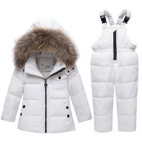 Wholesale snow white clothing for sale - Group buy 2019 children spring winter thin down jacket parka real Fur boy baby overalls kids coat snowsuit snow clothes girls clothing Set