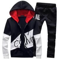 erkek çocuk spor takım elbise eşofman toptan satış-5XL Büyük Boy Eşofman Erkekler Set Mektup Spor Eşofman Erkek Ter Pantolon ile Erkek Takım Elbise Ceket Hoodie Erkek Sporting Suits