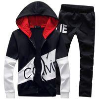 survêtements masculins achat en gros de-5XL Grande Taille Survêtement Hommes Ensemble Lettre Sportswear Survêtement Sweat Homme Survêtement Survêtement Veste À Capuche avec Pantalon Hommes Costumes Sportifs