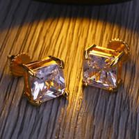 brinco para homens venda por atacado-Brincos de grife de luxo Brinco de Diamante Dos Homens brincos de Ouro Moda Brincos Congelados Hip Hop Jóias 8 MM