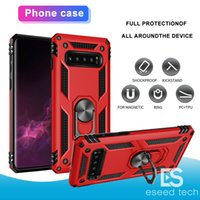 Wholesale rugged cars online - New For Samsung Galaxy S10 S10 Plus Hybrid Rugged Shockproof Armor Stand Case For S10 E S9 S8 S7 Metal Ring Magnetic Car Holder Cover Cases