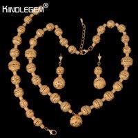 indische schmuckringe großhandel-Kindlegem Neue Afrikanische Perlen Schmuck Sets Indische Goldfarbe Luxus Aussage Choker Halskette Armband Ring Modeschmuck J190525