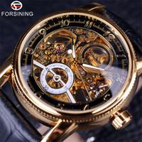 marca de relojes forsining al por mayor-2019 Forsining Hollow Grabado Esqueleto Casual Diseñador Negro Caja de oro Engranajes Bisel Relojes Hombres Top Brand Relojes automáticos