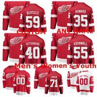 kronwall jersey venda por atacado-Camisolas de Detroit Red Wings Dylan Larkin Jersey Henrik Zetterberg Niklas Kronwall Camisolas de Hóquei no Gelo Red White Jimmy Howard Custom Stitced