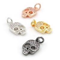 13 goldcharme großhandel-13 * 8 * 2mm Micro Pave Clear CZ Schädel Charms Fit für die Herstellung von DIY Armbänder oder Halsketten Schmuck