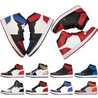 látex de aire al por mayor-Hot Nike air jordan retro 1 OG TOP 3 Prohibido Bred Royal Blue Mid hare Hombres Zapatillas de baloncesto para hombres 1s Shattered Backboard Trainers zapatillas de diseño Zapatos