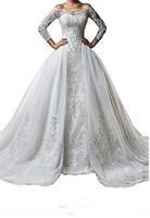 uzun elbise çıkarılabilir etek toptan satış-Ayrılabilir Etek Artı boyutu Illusion 2020 Tren vestido de Noiva Gelin Önlük Balo ile Vintage Bateau Boyun Dantel Uzun Kollu Gelinlik