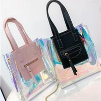 Wholesale clear transparent handbags totes for sale - Laser Holographic Crossbody Bag Colors Women Transparent Handbag Clear PVC Jelly Tote Shoulder Bags Outdoor Handbags OOA6093