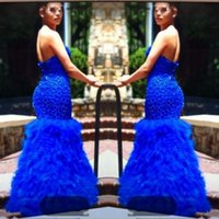 Wholesale sequin bead mermaid formal online - 2K19 Mermaid Prom Dresses Royal Blue Sweetheart Beads Sequins Tiered Skirt African Evening Dress Back Zipper Black Girls Formal Party Gowns