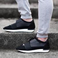 ayakkabılar için örgü toptan satış-Lüks Tasarımcı Yarış Koşucu Sneakers Marka Erkek Kadın Rahat Ayakkabılar Hakiki Deri Örgü sivri burun Ayakkabı Açık Havada Eğitmenler Kutusu Ile US5-11