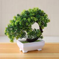 бонсай дерево искусственные растения оптовых-Fake Plastic Home Decor Potted Artificial Table Plant Bonsai Tree Pot Garden Flowers Ornaments Simulation Hotel Small