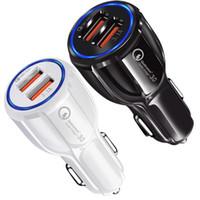 ingrosso caricatore rapido per il telefono-Caricabatteria da auto Dual USB con porta USB QC 3.0 Caricabatterie da auto ad alta velocità Caricabatterie 3.1A Adattatore per iphone 5 6 7 8 x samsung s8 s10 htc android phone