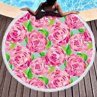 tapiz al por mayor-Estampado suave Toalla de Playa 150 * 150 CM Bohemia Ronda Manta de Playa Borlas Tapices Tapices Floral Picnic Alfombras Mujeres Toalla de Baño TTA923