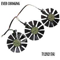 soğutma fanı 12v teller toptan satış-Fan için ASUS GTX980Ti R9 390X 390 GTX1070 Grafik Soğutma kart fanı Yeni 87mm Everflow T129215SU DC 12V 0.50AMP 4Pin 4 Tel