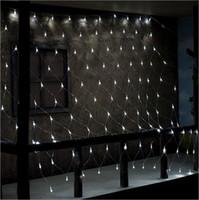 ingrosso luci scoperte solari-SXI 1Mx2M 120 LED String Lights Net Mesh Lights Impermeabile Solar Net Led String Lights per la festa di Natale